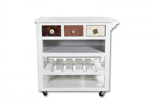Küchenwagen Materialmix Mangoholz und MDF