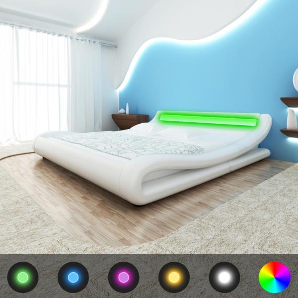 Bett 200 x 180 cm weiß LED-Licht-Streifen mit Matratze & Lattenrost