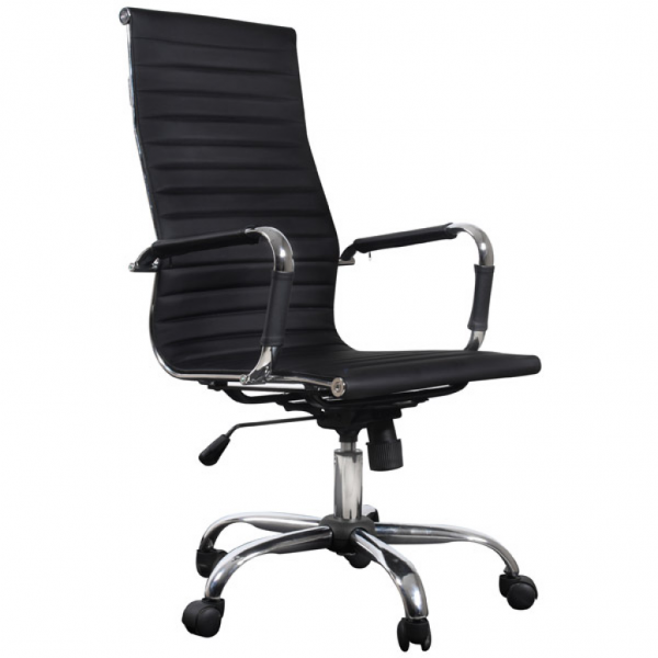 Bürostuhl Modern mit hoher Lehne Leder schwarz